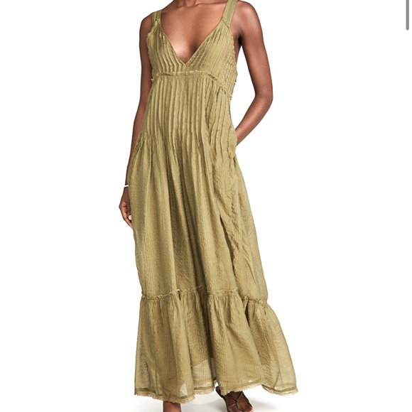 NWT Frankie Pintuck Maxi Dress in Olive. Size L.